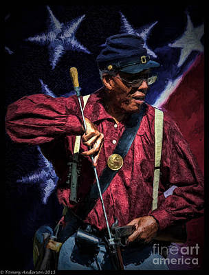Wi Colored Infantry Sharpshooter - Oil Poster by Tommy Anderson