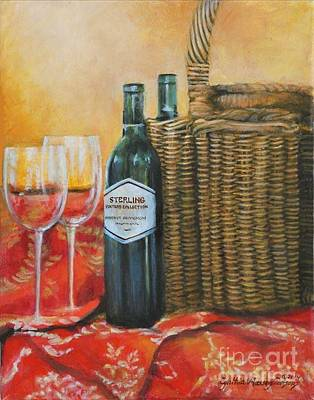 Poster featuring the painting Wicker And Wine by Cynthia Parsons