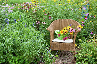 Wicker Chair With Basket And Birdhouse Poster