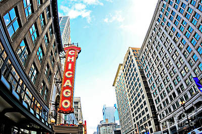 Wide Angle Photo Of The Chicago Theatre Marquee And Buildings  Poster