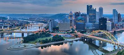 Wide Angle Pittsburgh Sunrise Poster by Adam Jewell