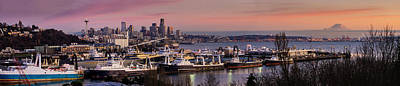Wider Seattle Skyline And Rainier At Sunset From Magnolia Poster by Mike Reid