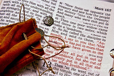 Widow's Mites And Scripture Poster
