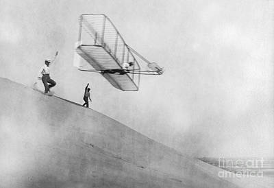 Wilbur Wright Pilots Early Glider 1901 Poster