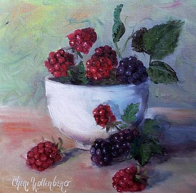 Poster featuring the painting Wild Blackberries by Cheri Wollenberg