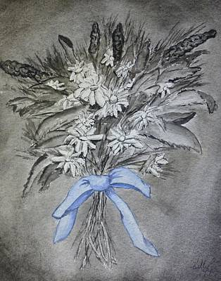 Poster featuring the painting Wild Blue Flowers by Kelly Mills