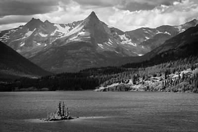 Wild Goose Island Glacier National Park Bw Poster by Rich Franco