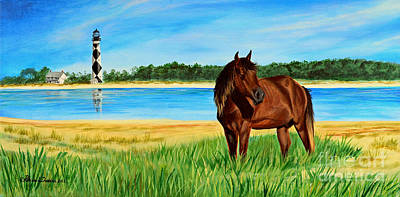 Wild Horse Near Cape Lookout Lighthouse Poster