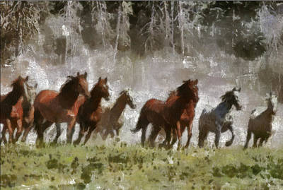 Poster featuring the painting Wild Horses by Georgi Dimitrov