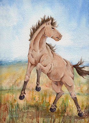 Poster featuring the painting Wild Mustang With Attitude by Rebecca Davis