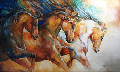 Wild Trio Run Poster by Marcia Baldwin