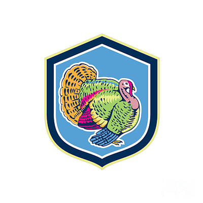 Wild Turkey Side View Shield Retro Poster by Aloysius Patrimonio