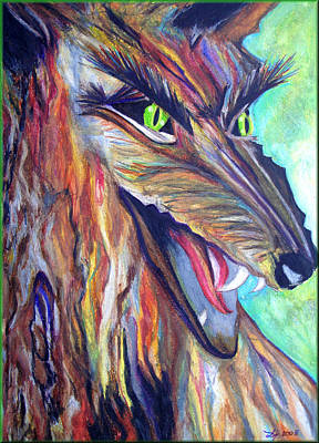 Poster featuring the drawing Wild Wolf by Daniel Janda