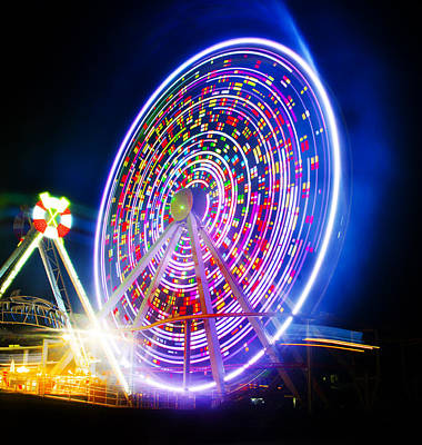 Wildwood Ferris Wheel At Night Poster