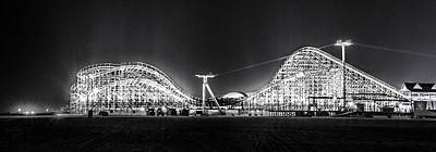 Wildwood Roller Coaster At Night In Black And White Poster by Bill Cannon