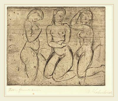 Wilhelm Lehmbruck, Three Kneeling Women Drei Frauen Knied Poster by Litz Collection