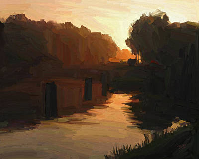 Poster featuring the painting Wilhelmina Canal In Autumn Morning Light by Nop Briex