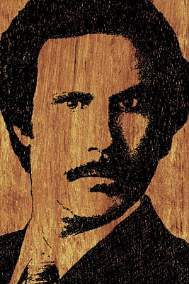 Will Ferrell Anchorman Ron Burgundy On Simulated Simulated Wood Poster by Tony Rubino