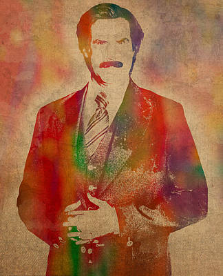 Will Ferrell As Ron Burgundy In Anchorman Movie Watercolor Portrait On Worn Distressed Canvas Poster by Design Turnpike