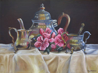 Poster featuring the painting Williamsburg Stieff Tea Set by Phyllis Beiser