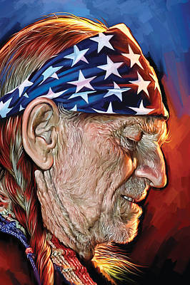 Willie Nelson Artwork Poster by Sheraz A