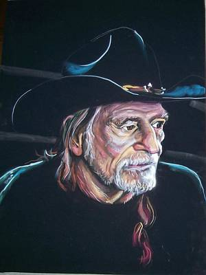 Poster featuring the pastel Willie Nelson by Peter Suhocke