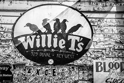 Willie T's Bar And Dollar Bills Key West - Black And White Poster by Ian Monk