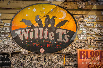 Willie T's Bar And Dollar Bills Key West - Hdr Style Poster by Ian Monk