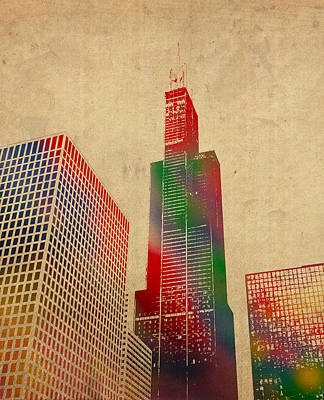 Willis Sears Tower Chicago Illinois Watercolor On Worn Canvas Series Poster