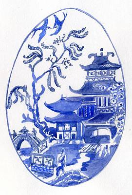 Willow Pattern Egg I Poster