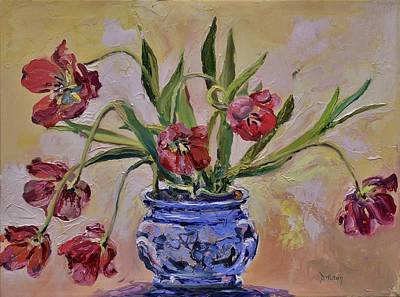 Wilting Tulips Poster by Donna Tuten