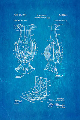 Winchell Inverted Novelty Mask Patent Art 1964 Blueprint Poster