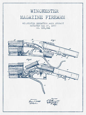 Winchester Firearm Patent Drawing From 1877 -  Blue Ink Poster by Aged Pixel