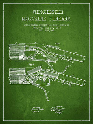Winchester Firearm Patent Drawing From 1877 - Green Poster by Aged Pixel
