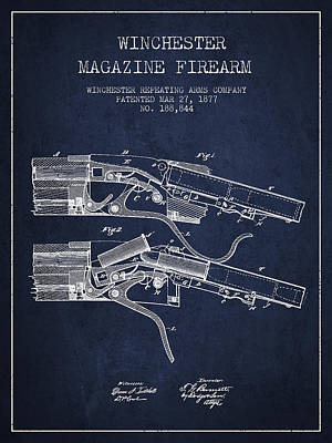 Winchester Firearm Patent Drawing From 1877 - Navy Blue Poster by Aged Pixel
