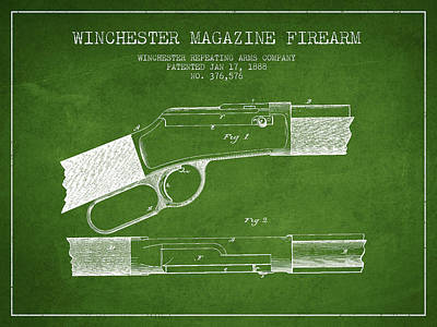 Winchester Firearm Patent Drawing From 1888- Green Poster by Aged Pixel