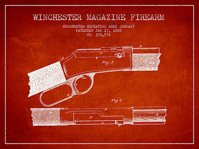 Winchester Firearm Patent Drawing From 1888- Red Poster by Aged Pixel