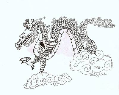 Wind And Cloud Dragon Poster by Wendy Coulson