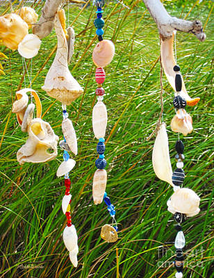 Wind Chimes At The Beach Poster by Michelle Wiarda