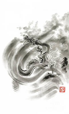 Wind Dragons Sumi-e Ink Painting Dragons Art Poster by Mariusz Szmerdt