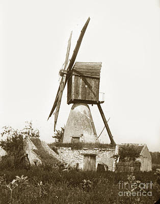 Poster featuring the photograph Wind Mill In France 1900 Historical Photo by California Views Mr Pat Hathaway Archives