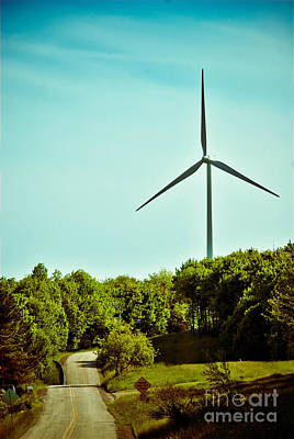 Wind Turbine Along Rural Road Poster by Amy Cicconi