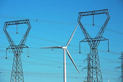 Wind Turbine And Electricity Pylons Poster