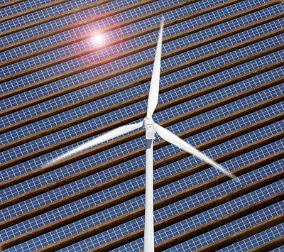 Wind Turbine And Solar Panels Poster