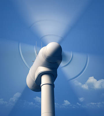 Wind Turbine Rotating Close-up Poster