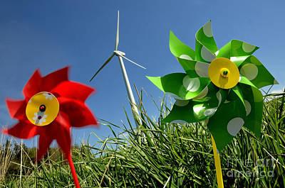 Wind Turbines And Toys Poster by Bernard Jaubert