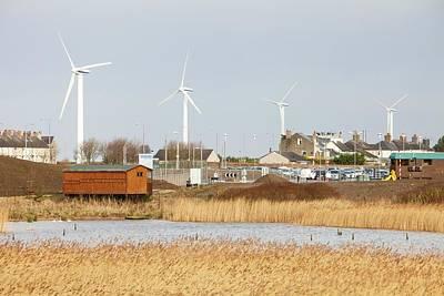 Wind Turbines Behind Siddick Pond Poster