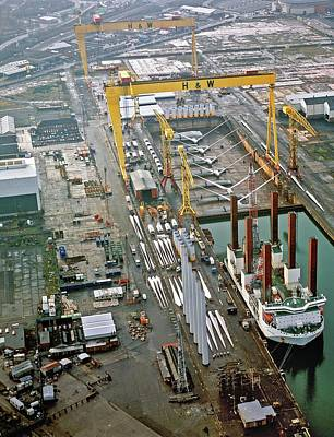 Wind Turbines Being Offloaded Poster by Harland & Wolff Heavy Indust./us Department Of Energy