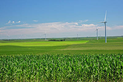 Wind Turbines On Nebraska Farm Poster by Jim West