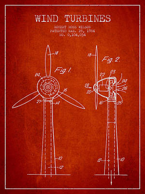 Wind Turbines Patent From 1984 - Red Poster by Aged Pixel